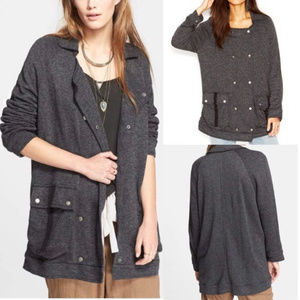 Free People gray slouchy linen Anorak snap jacket